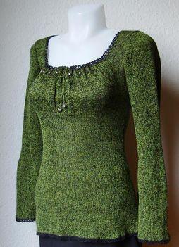 Kézimunkasuli zöld-fekete melírozott pulóver