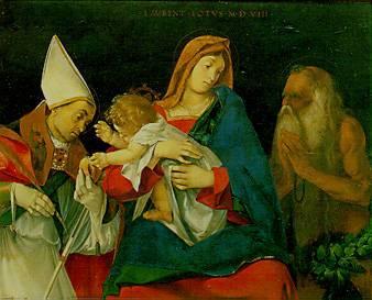 Lorenzo Lotto - Madonna con bambino, San Flaviano e Sant'Onofrio