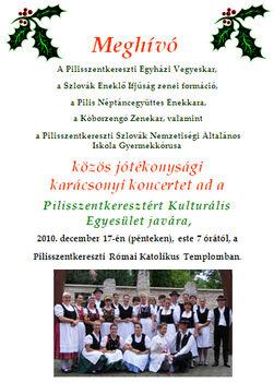 2010.12.17. - Karácsonyi koncert - Pilisszentkereszt - plakát