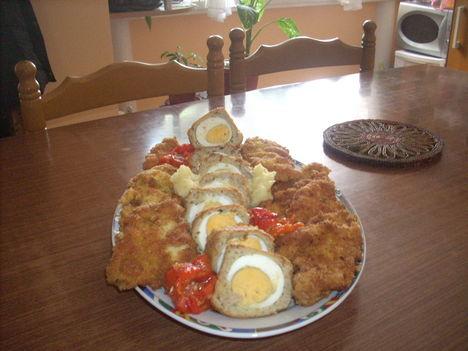 kirantott tojas , kirantott csirke mell