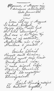 Kölcsey Himnusz kézirat 1823ból