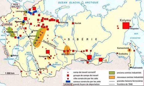Gulágok rendszere Szovjetunió szerte