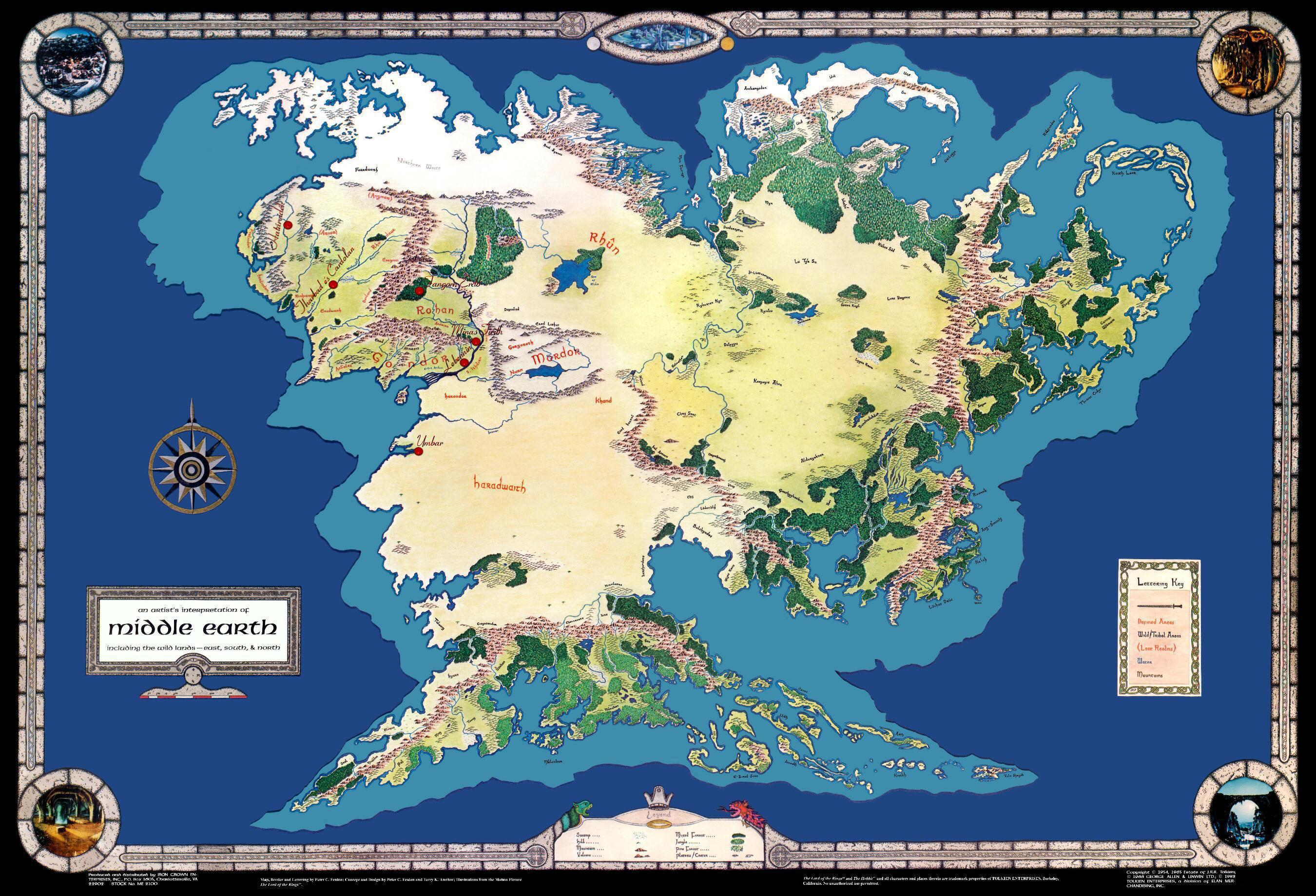 középfölde térkép Térkép: Gyűrűk ura térkép (kép) középfölde térkép