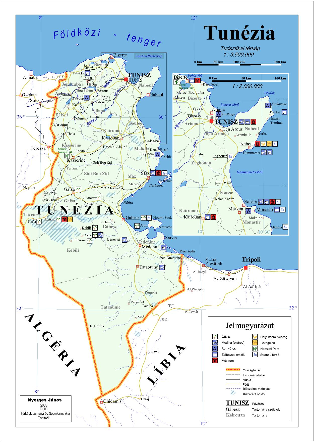 tunézia térkép Térkép: Tunézia utazási térkép (kép)