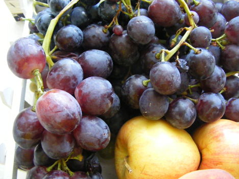 Piros szőlő almával