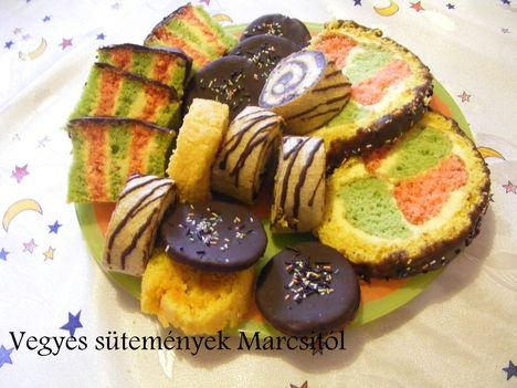 Vegyes sütemény szeletek