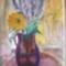 Napraforgó és vadvirágok lila kancsóban