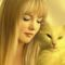 Pretty woman with white cat...