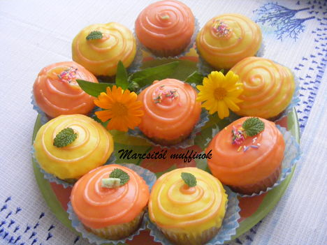 Vanília pudingos  narancsos muffinok