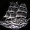 Gravírozott fregatt üvegen - dísztányér