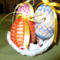 Horgolt tojások kosárban