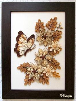 Quilling falikép pillangóval