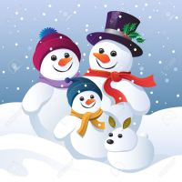 44169464-Snowman-family-and-snow-dog-in-a-winter-landscape-Stock-Photo