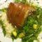 Malac borda rukkola salátával és rizzsel