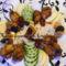 Csirkeszárnyak  gyümölcsökkel és tojásos rízzsel