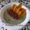 Sóska édesburgonyával és sült kolbásszal