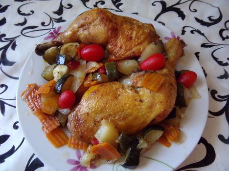 Cukkinin sült csirkecombok