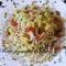 Spagetti kelkáposztával dióval és szalonnával