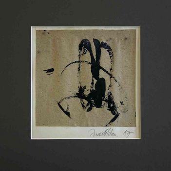 001 - Ádám Judit - Kalligráfia I, 1967. 16x16cm - Papír-olaj 4-04-0684