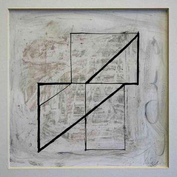 208 - Hajdu László - Archi I, 1996. 18x18cm - Papir-akril 4-04-0652