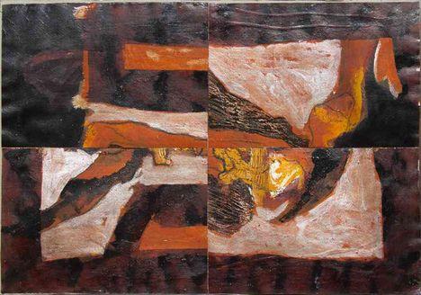 282 - Klimó Károly - Groteszk árnyékok, 1981. 41x59cm - Olaj-papír 4-18-1433