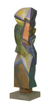 338 - Mata Attila - Festett fej, 1992. 49x10x9cm - Faragott-festett fa 0197