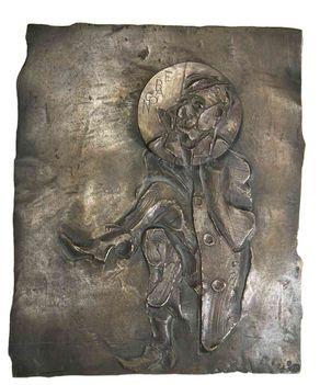 490 - Szathmáry Gyöngyi - Mister F. Bacon, 1998. 28x24x6cm - Bronzi 0108
