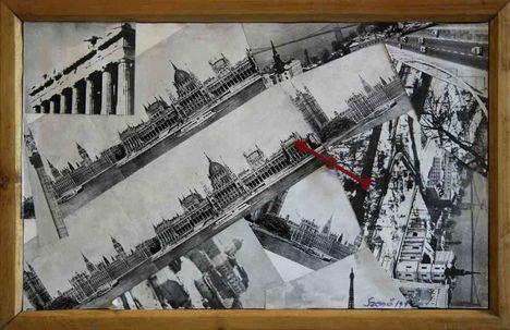 492 - Szegő György - Álom térkép, 1979(1999). 38x23 - Collage 4-04-0697