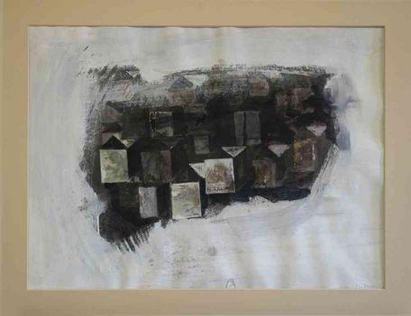 498 - Szikora Tamás - Barna dobozok, 1993. 45x60cm 4-04-0621