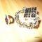 karkötő,gyűrű,fekete-fehér gyöngyből