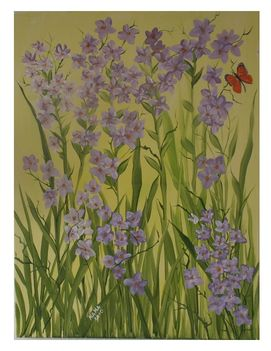 Virág lepkével-Dekorativ kép.