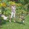 unokám ,Lilike kiskutyájukkal mamánál
